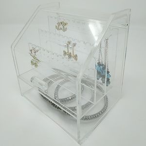 Clear earring jewelry holder box with lid